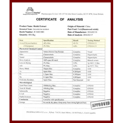 Ganoderma Duanwood Red Reishi - Extract 40% polysaccharides
